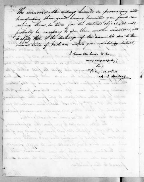 Alexander James Dallas to Andrew Jackson, April 22, 1815