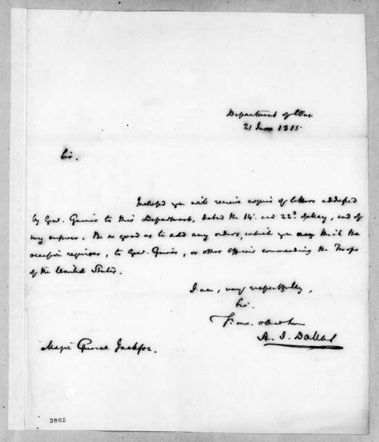 Alexander James Dallas to Andrew Jackson, June 21, 1815