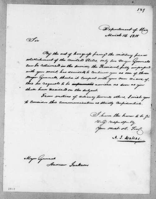 Alexander James Dallas to Andrew Jackson, March 14, 1815