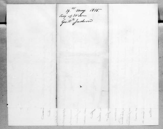 Alexander James Dallas to Andrew Jackson, May 19, 1815