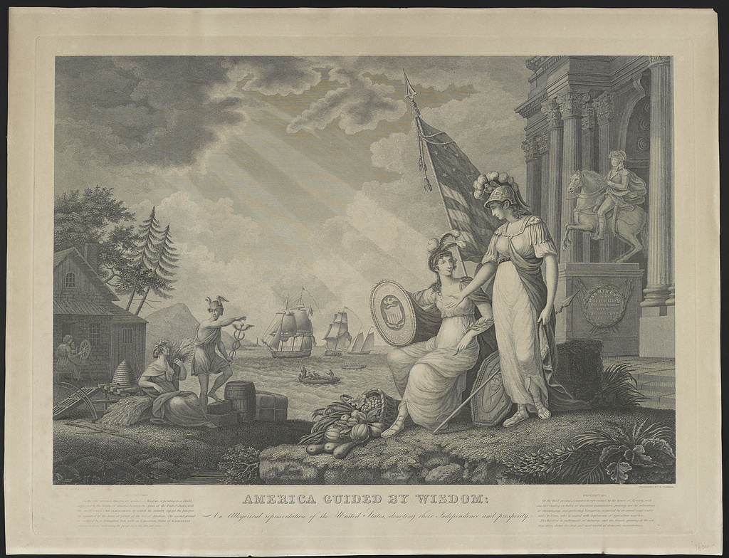 America guided by wisdom An allegorical representation of the United States depicting their independence and prosperity / / Drawn by John J. Barralett ; engraved by B. Tanner.