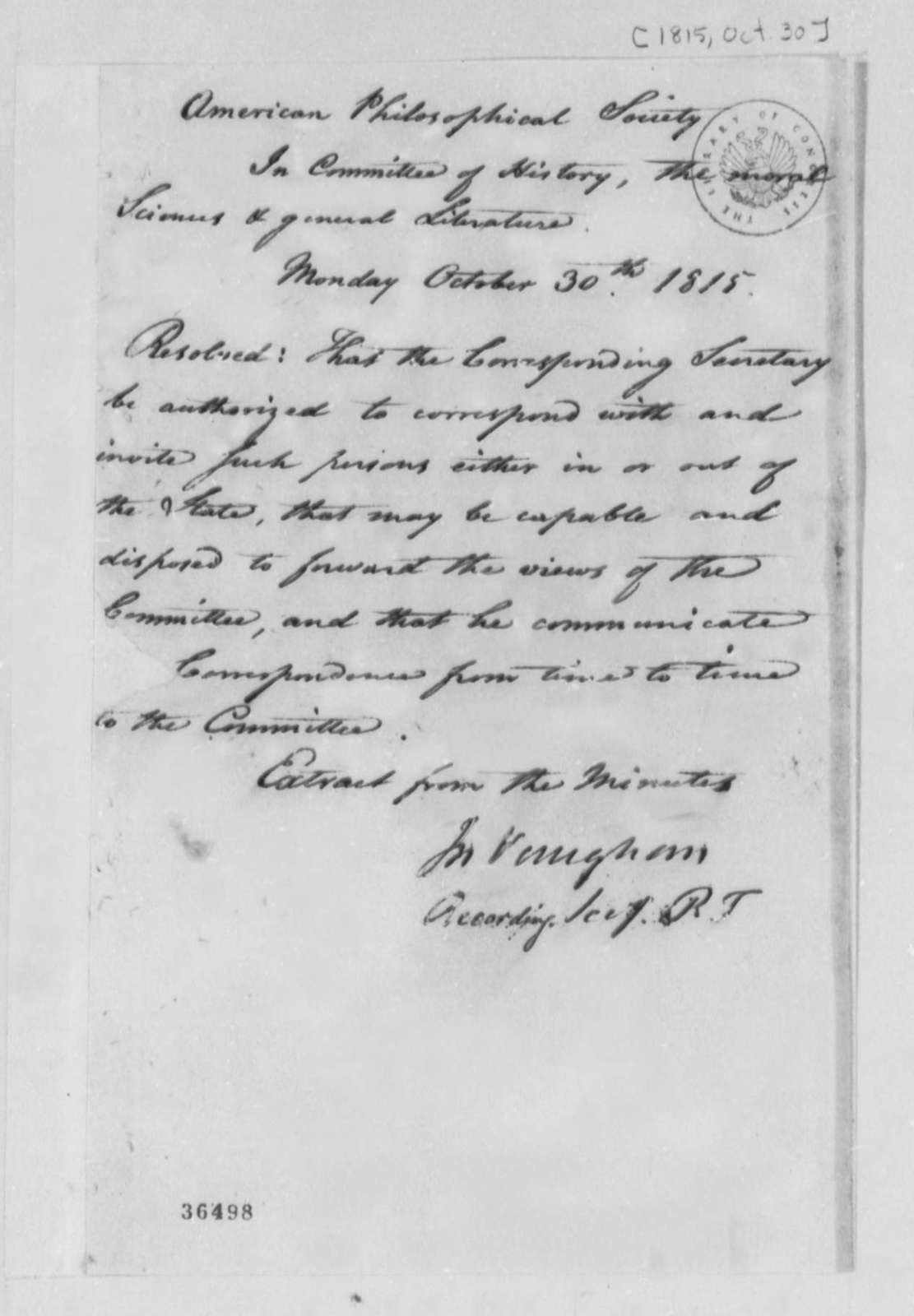 American Philosophical Society, October 30, 1815, Resolution