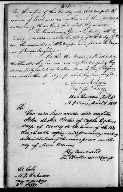 Andrew Jackson Letterbooks, Vol. I - Letters and Orders, February 1815 - February 1816