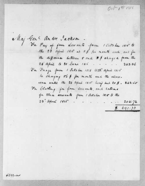 Andrew Jackson, October 1, 1815