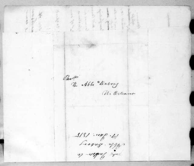 Andrew Jackson to Abbe Dabory, January 19, 1815