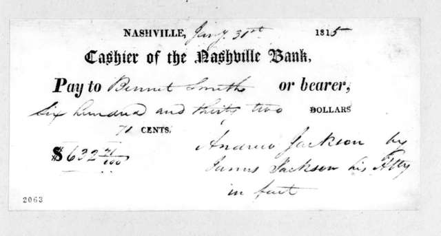 Andrew Jackson to Bennett Smith, January 31, 1815