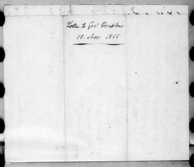 Andrew Jackson to Daniel D. Tompkins, November 18, 1815