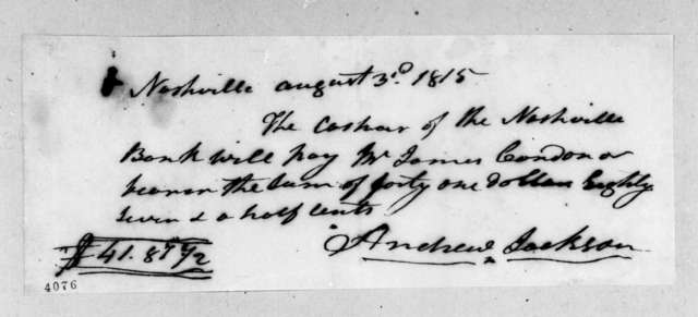Andrew Jackson to James Condon, August 3, 1815