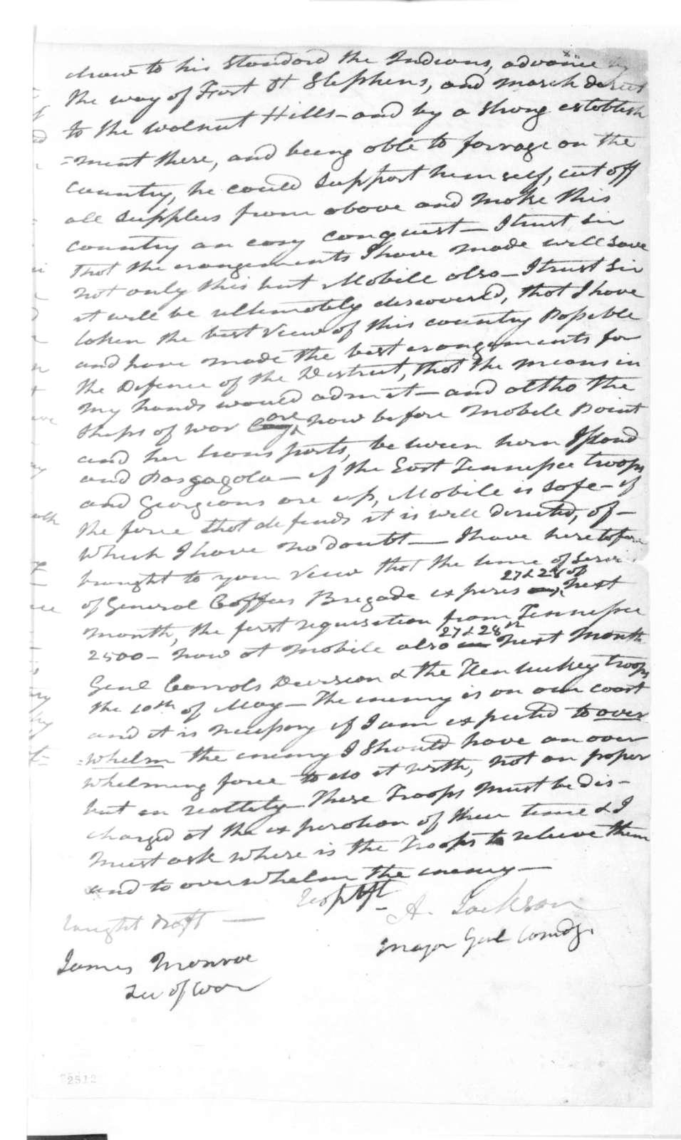 Andrew Jackson to James Monroe, February 18, 1815