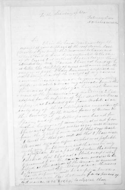 Andrew Jackson to James Monroe, February 18, 1815