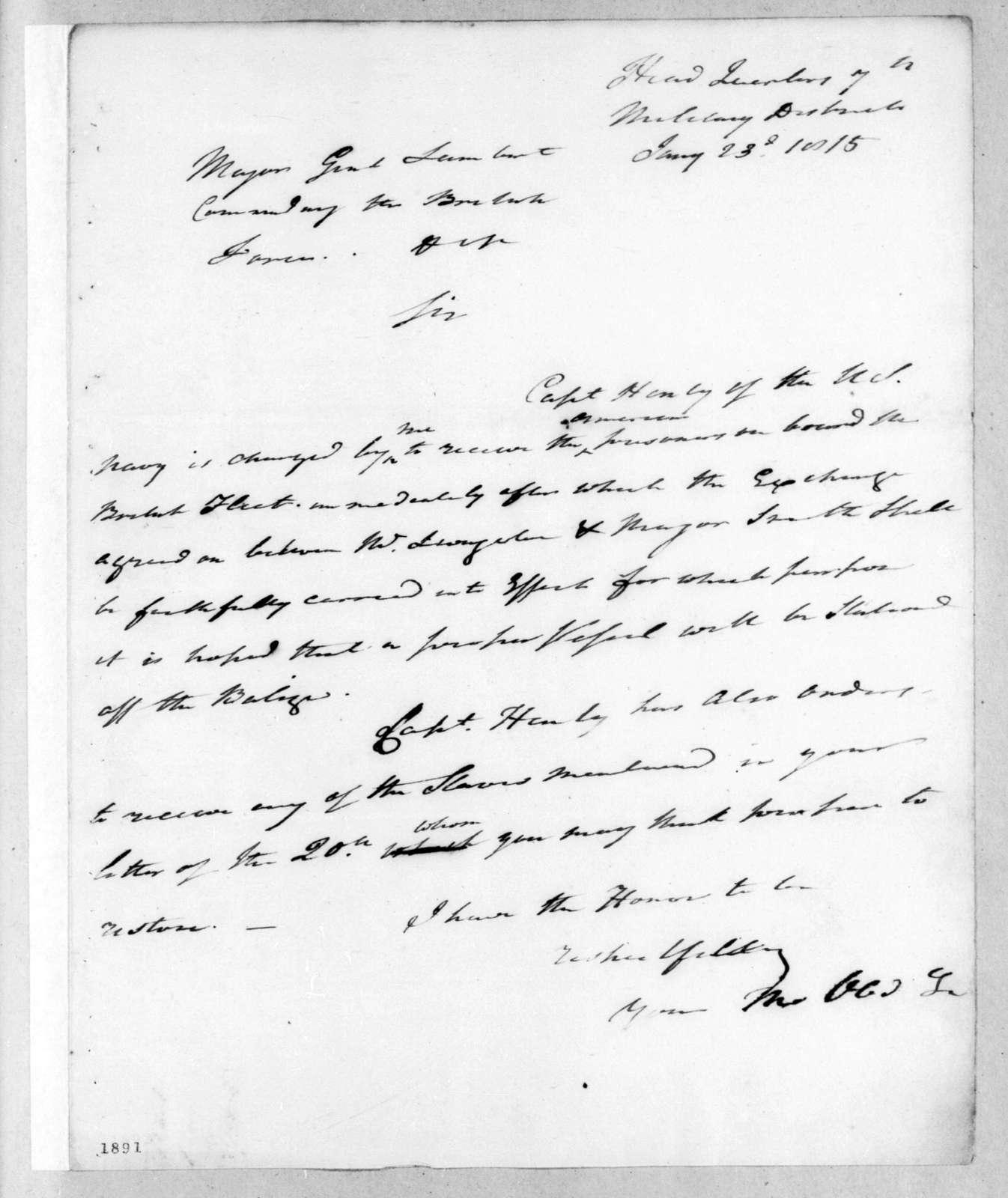 Andrew Jackson to John Lambert, January 23, 1815