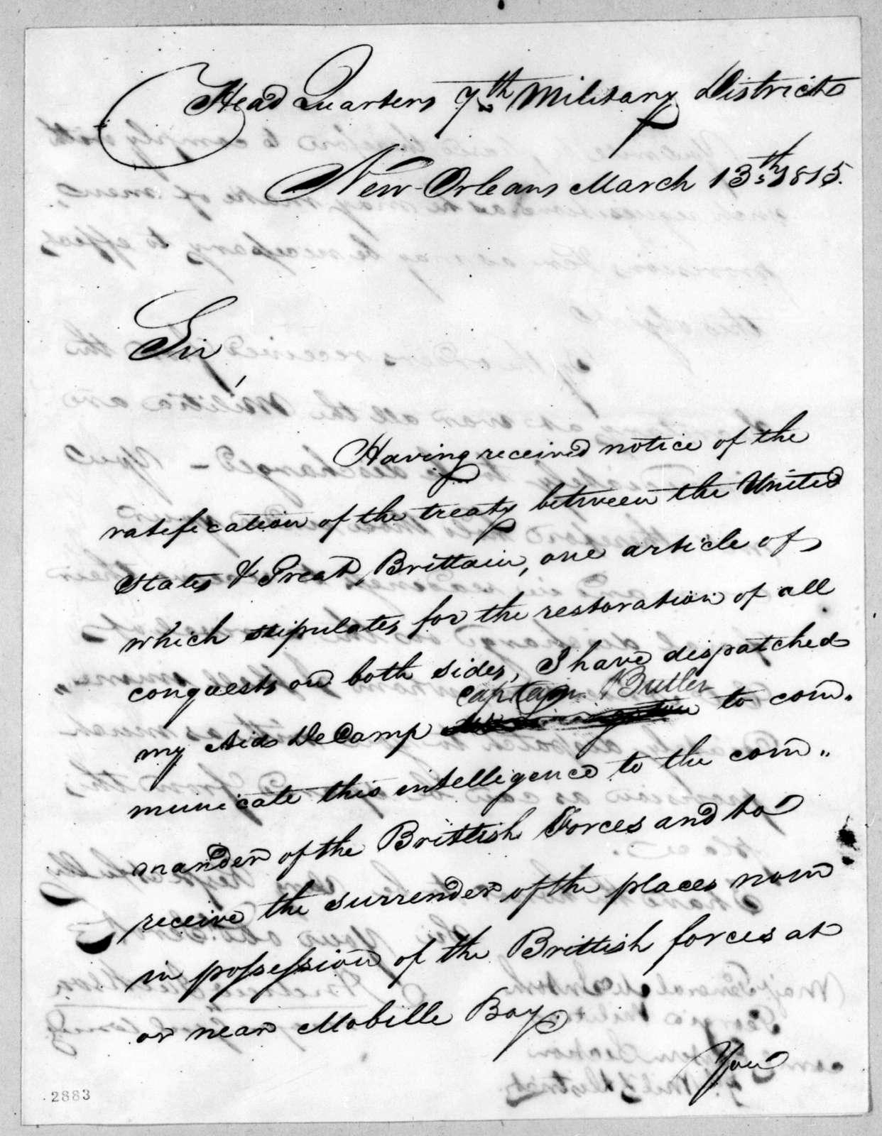 Andrew Jackson to John McIntosh, March 13, 1815