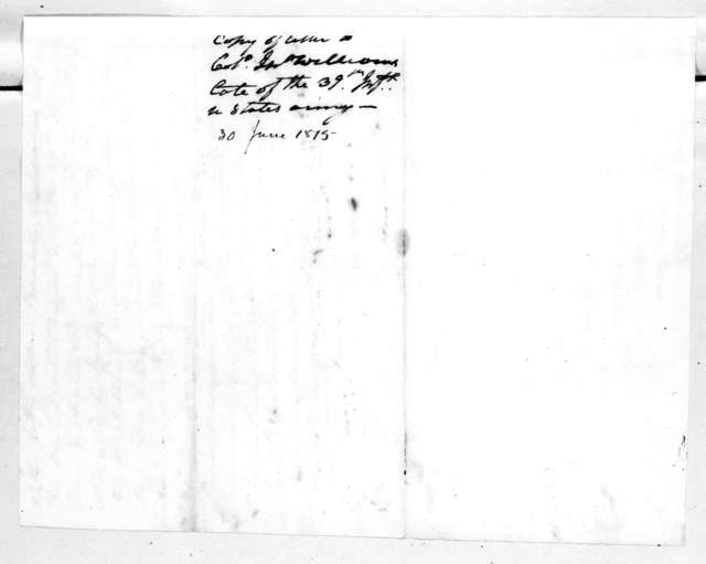 Andrew Jackson to John Williams, June 30, 1815