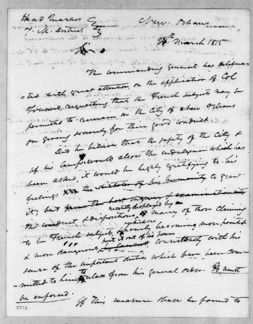 Andrew Jackson to Louis de Tousard, March 4, 1815