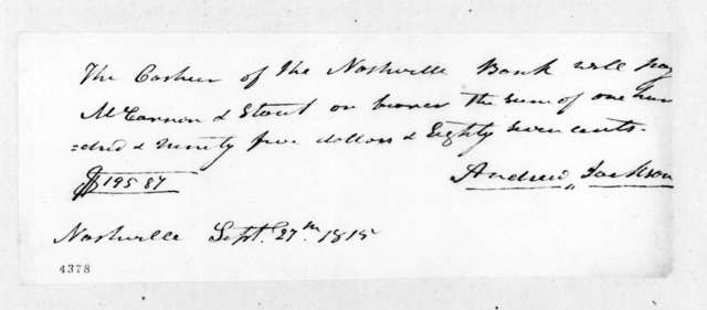 Andrew Jackson to McCannon & Stout, September 27, 1815