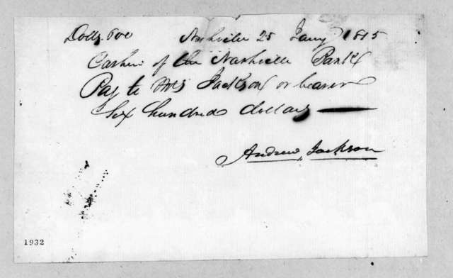 Andrew Jackson to Rachel Donelson Jackson, January 25, 1815