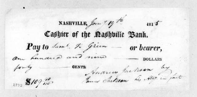 Andrew Jackson to Samuel N. Green, January 19, 1815