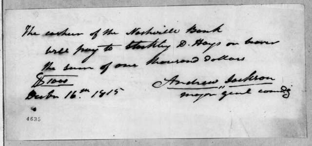 Andrew Jackson to Stockley D. Hays, December 16, 1815