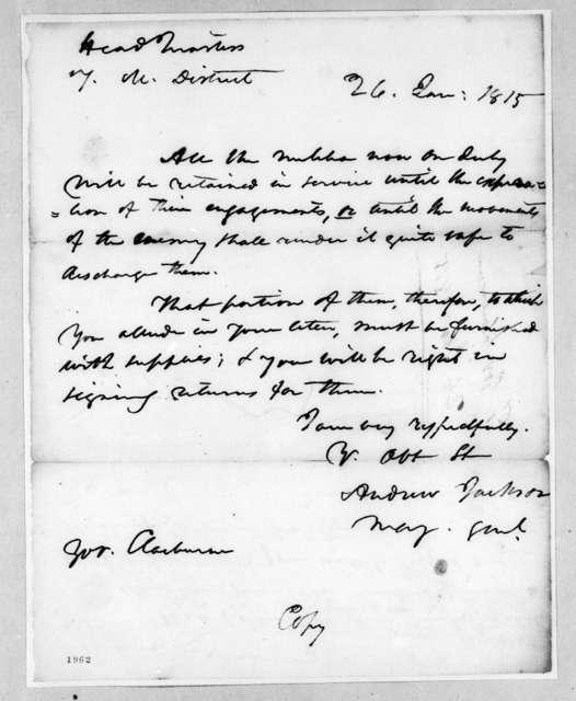 Andrew Jackson to William Charles Cole Claiborne, January 26, 1815