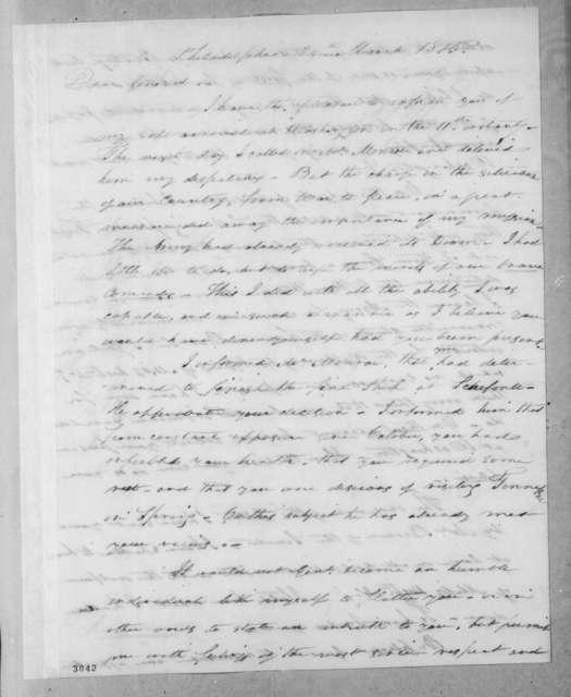 Arthur Peronneau Hayne to Andrew Jackson, March 24, 1815