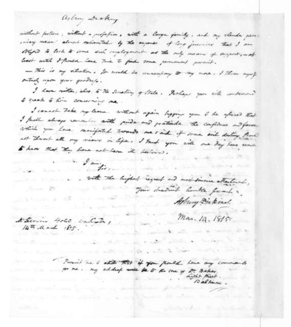Asbury Dickins to James Madison, March 14, 1815.
