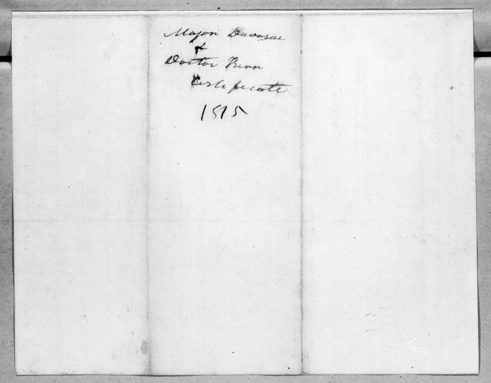 Auguste Genevieve Valentin Davezac to Andrew Jackson, April 6, 1815
