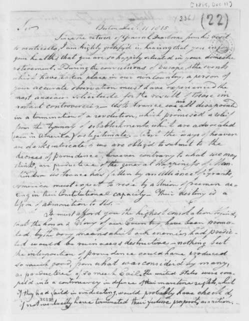 Benjamin Austin to Thomas Jefferson, December 11, 1815