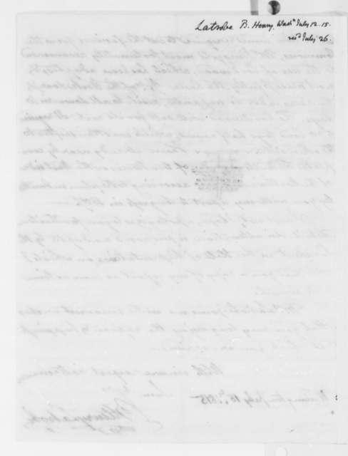 Benjamin H. Latrobe to Thomas Jefferson, July 12, 1815, with Drawings