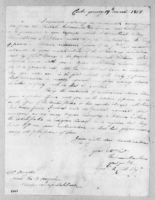 Benjamin Hawkins to Edward Nicolls, March 19, 1815