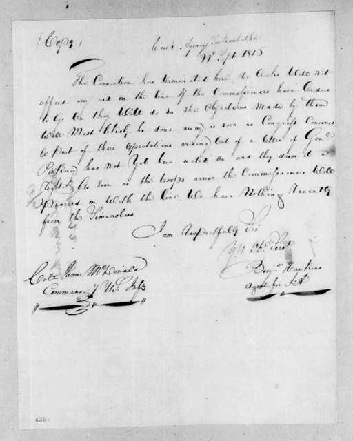 Benjamin Hawkins to James McDonald, September 22, 1815