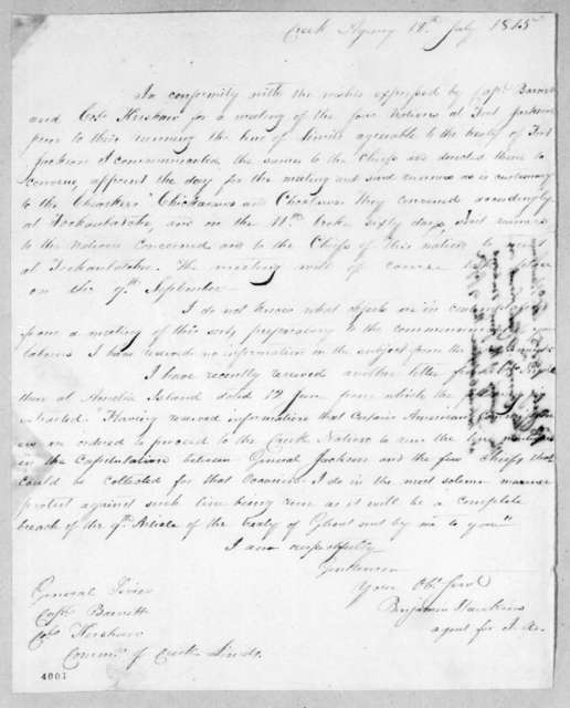 Benjamin Hawkins to William Barnett, July 18, 1815