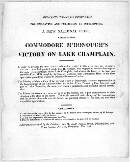 Benjamin Tanner's proposals for engraving and publishing by subscription a new national print, representing Commodore M'Donough's Victory on Lake Champlain ... Subscriptions received by the Publisher, No. 74, South Eighth Street, Philadelphia; a