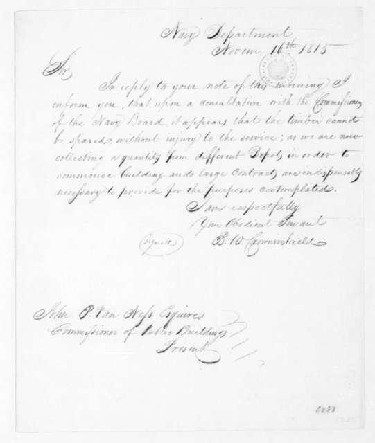 Benjamin W. Crowninshield to John P. Van Ness, November 16, 1815.