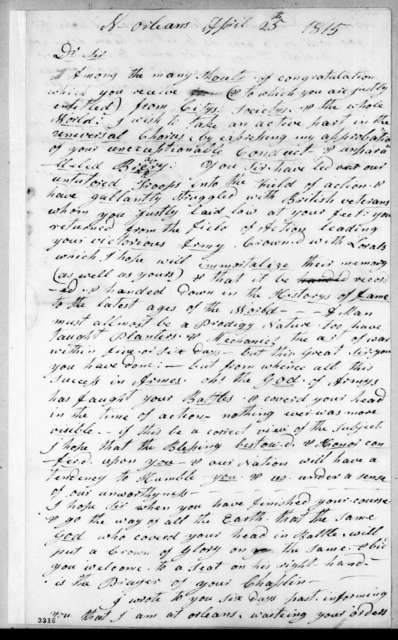 Carter Tarrant to Andrew Jackson, April 25, 1815
