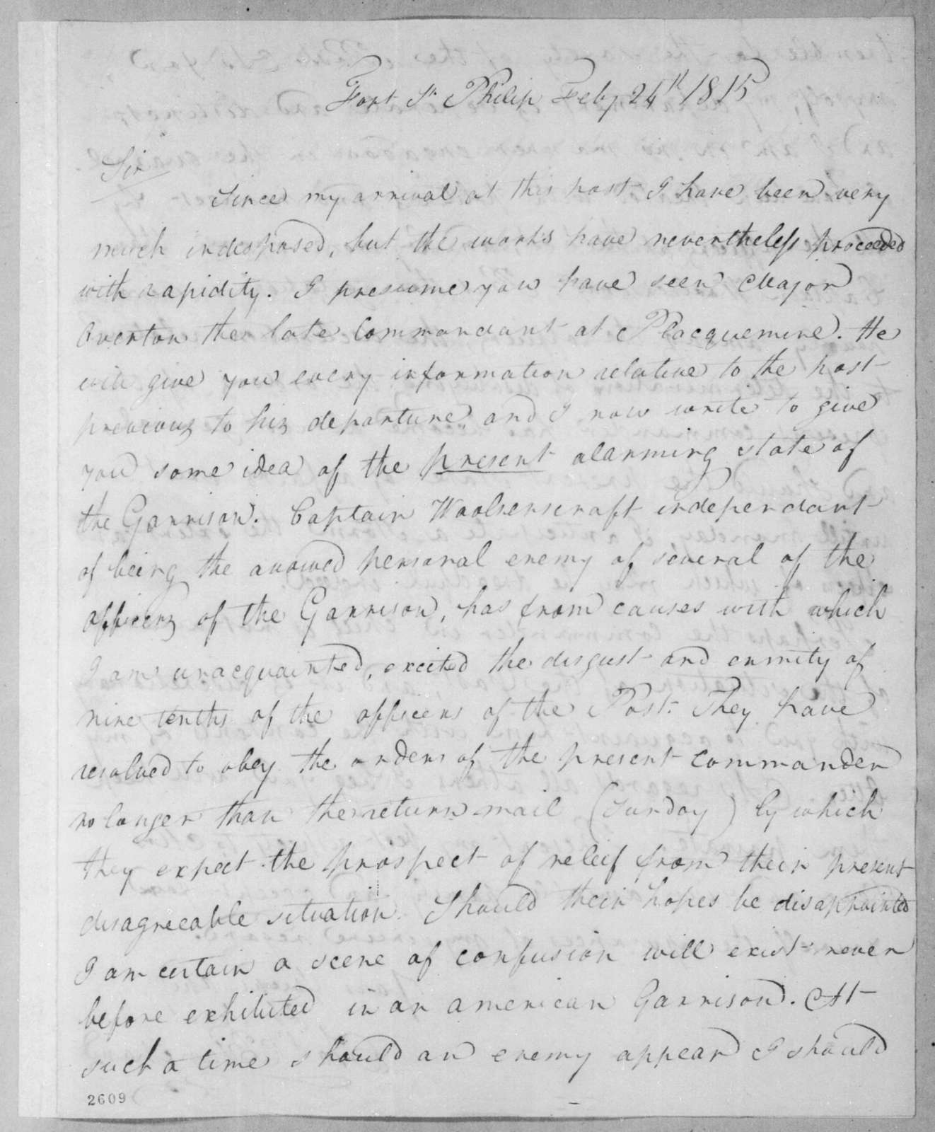 Charles K. Blanchard to David C. Ker, February 24, 1815