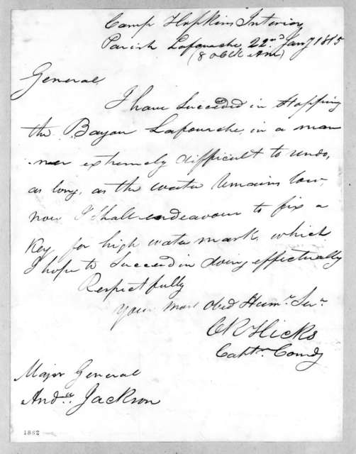 Charles R. Hicks to Andrew Jackson, January 22, 1815