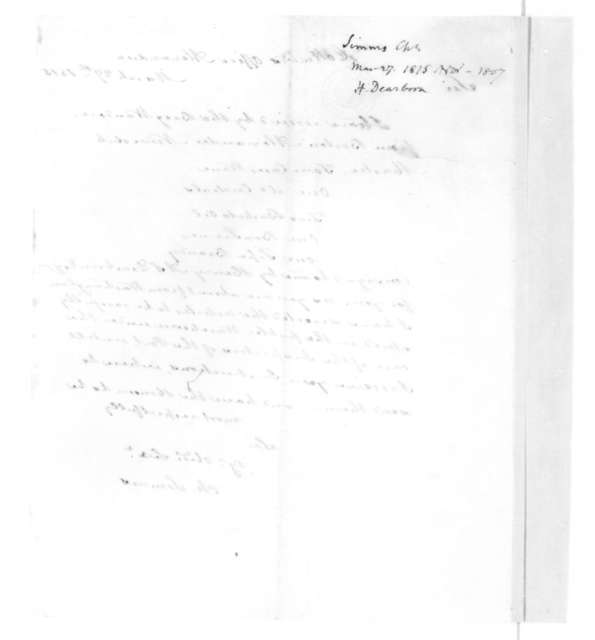 Charles Simms to James Madison, March 27, 1815. With Bill of Lading.