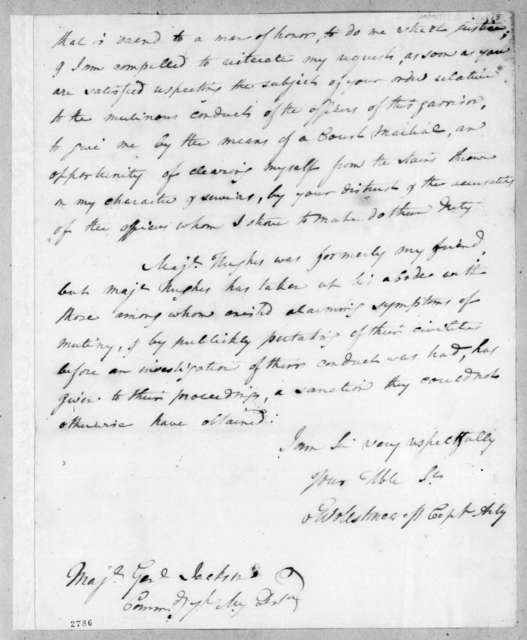 Charles Wollstonecraft to Andrew Jackson, March 5, 1815