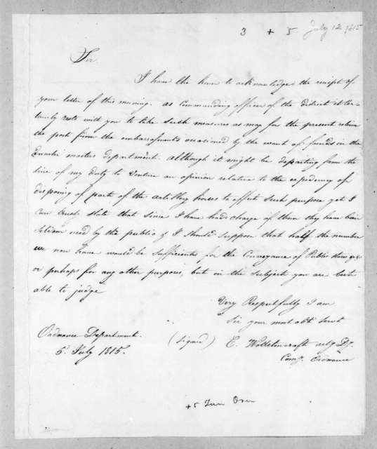 Charles Wollstonecraft to George Thompson Ross, July 5, 1815