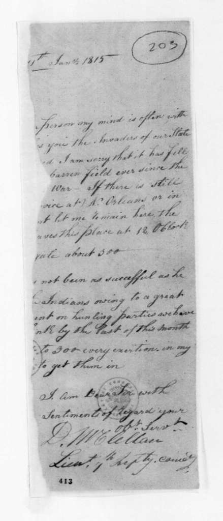 D. McClellan to Unknown, January 11, 1815