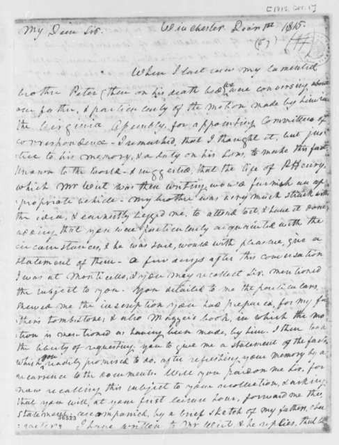 Dabney Carr to Thomas Jefferson, December 1, 1815