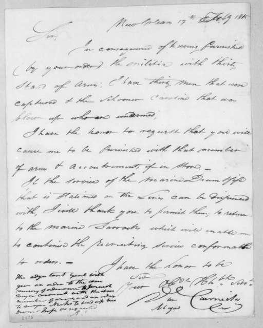 Daniel Carmick to Andrew Jackson, February 17, 1815