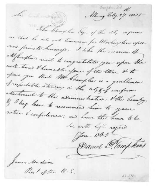 Daniel D. Tompkins to James Madison, February 27, 1815.
