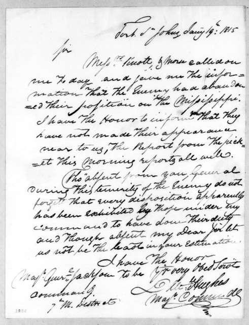 Daniel Hughes to Andrew Jackson, January 19, 1815