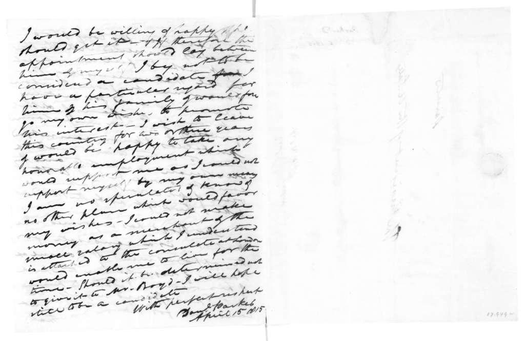 Daniel Parker to James Madison, April 15, 1815.