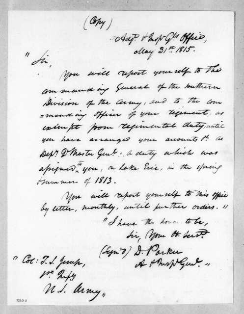 Daniel Parker to Thomas Sidney Jesup, May 31, 1815