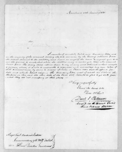Daniel T. Patterson to Andrew Jackson, January 18, 1815
