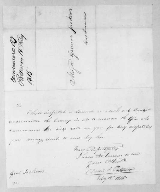 Daniel Todd Patterson to Andrew Jackson, February 18, 1815
