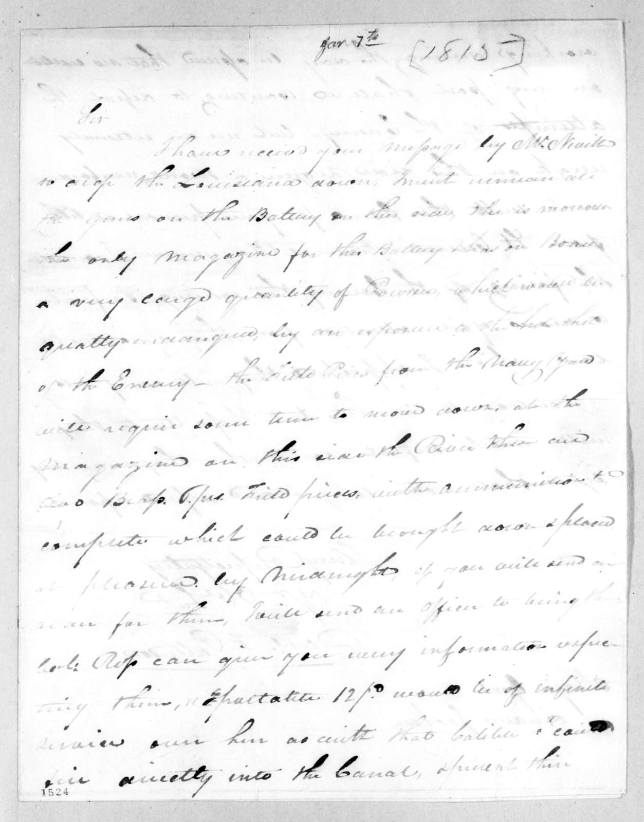 Daniel Todd Patterson to Andrew Jackson, January 7, 1815
