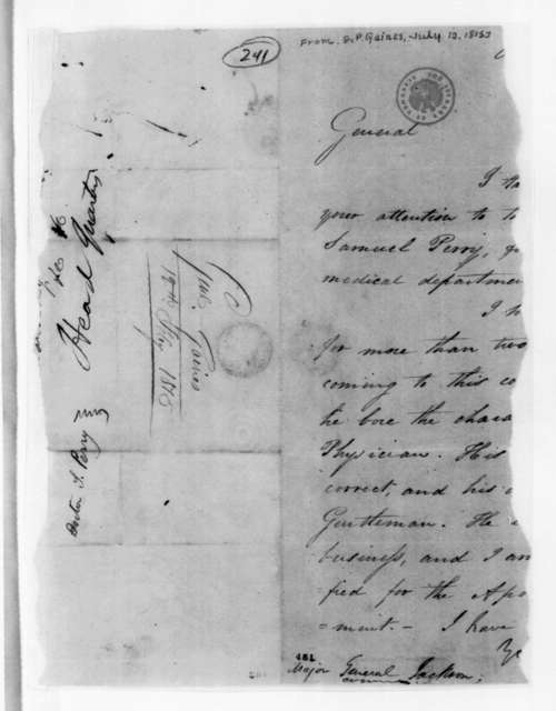 Edmund Pendleton Gaines to Andrew Jackson, July 12, 1815